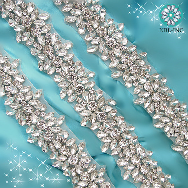 5 YARDS Wholesale silver bridal beaded crystal rhinestone applique trim for wedding dress sash belt