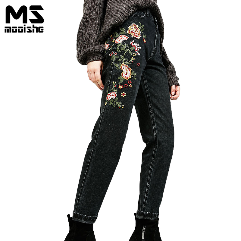 Spring Casual Women High Waist Jeans With Floral Embroidery Black Boyfriend Women Denim Jeans Pants Bottoms 2017 spring new women sweet floral embroidery pastoralism denim jeans pockets ankle length pants ladies casual trouse top118