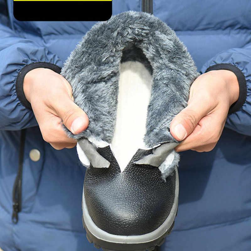 Hommes acier orteil travail sécurité botte chaude automne hiver en cuir hommes bottes Anti-fracassant tactique militaire bottes travail sécurité chaussures
