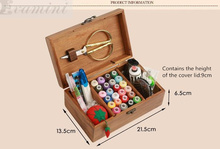 DIY Wood Box Sewing Kit Needle Tape Scissor Multifunction Threads Sewing Tools Accessory Sewing Kits For Home & Travelling Gift