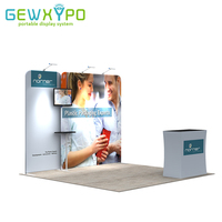 10ft Booth Portable Tension Fabric Tube Display Pop Up Banner Wall With Advertising Podium Hard Case(Include Lights and Shelf)