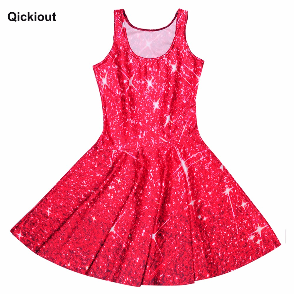 ea52352c298df US $8.54 30% OFF|Qickitout Dress Hot Product New Women's Red Star shining  Galaxy Dress Digital Printing SKATER DRESS Vestido Plus Size-in Dresses  from ...