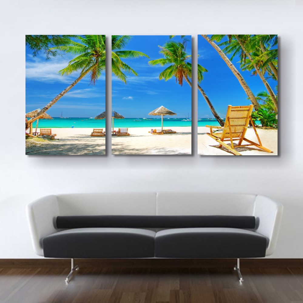 3 Piece Canvas Art Tropical Seascape Paintings In Bedroom ...