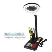 Lámpara de escritorio con lupa profesional, 5X/10X, luz LED de lectura, de mesa, AC110-220V, 6W