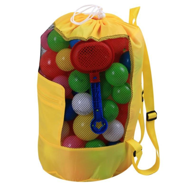 Large Mesh Beach Bag Folding Pool Toys Storage Backpack Durable Drawstring Sack beach Backpack Swim Pool Toys Storage Bags