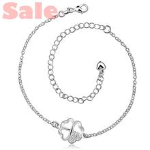 AAIA BMUA Plated Silver Anklets Fashion Jewelry CA030 Clover with Clear Cubic Zirconia Foot Bracelets