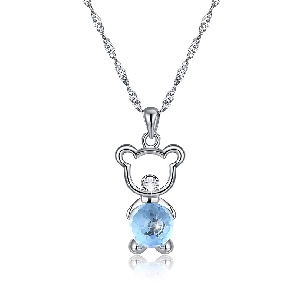 LEKANI Crystals from Swarovski Element Cute Bear Pendant Necklace 925 Sterling Silver Oval Chain Jewelry for Women