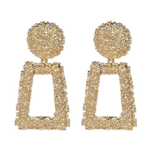 Boho Punk créatif or givré goutte boucle d'oreille pour femme géométrique grand carré pendaison Dangle oreille 2019 femmes boucle d'oreille bijoux modernes