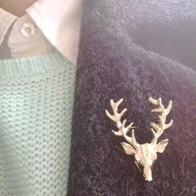 FAMSHIN 2017 Hot 1 pcs Hot Unisex Animal Christmas Xmas Popular Cute Gold Deer Antlers Head Pin Brooches Styling Jewelry