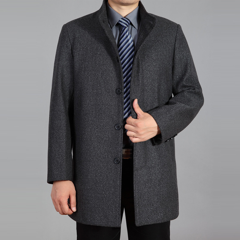 Wool Winter Men's Woolen Coat Single Breasted Men Fur Collar Wool Jackets And Coats Overcoat Casual Warm Snow Coats