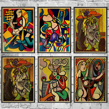 Picasso Abstract Picture vintage poster retro kraft paper vintage poster Home Room Decor wall sticker painting(China)