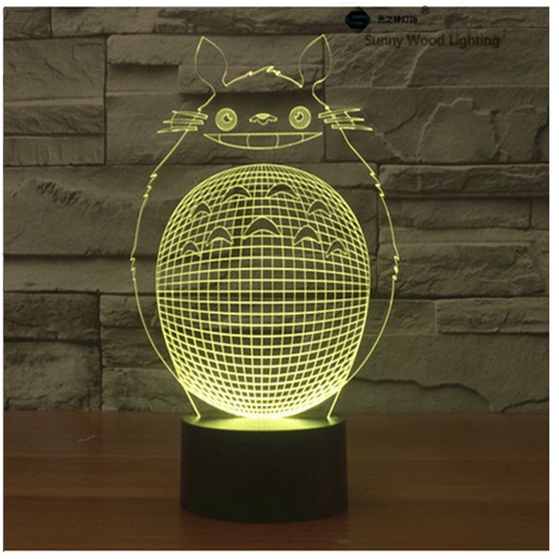 Totoro touch switch LED 3D lamp ,Visual Illusion 7color changing 5V USB for laptop, desk decoration toy lamp