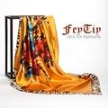 Women Fashion  Silk Satin Flower Square Scarf 2016 New Brand Silk-like Big Size  Head Beach Shawl 90cm*90cm