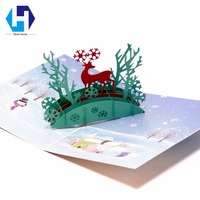 Music 3D pop up Christmas decoration Deer greeting card laser cutting envelopes postcard hollow carved handmade kirigami gifts