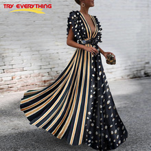 цена на Striped Boho Dress Summer 2019 Sexy Party Dress Women Deep V Neck Polka Dot Dress Ladies long Dresses Short sleeve XXL For Women