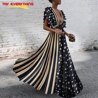 Try Everything Long Boho Dress Summer 2018 Sexy Dress Women Deep V Neck Polka Dot Dress Striped Ladies Dresses Robe Longue Femme
