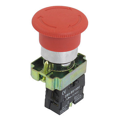 ZB2-BS542 NC Normally Closed Red Sign Mushroom Emergency Stop Push Button Switch ac 600v 10a normal close plastic shell red sign emergency stop mushroom knob switch 22mm elevator emergency stop switch