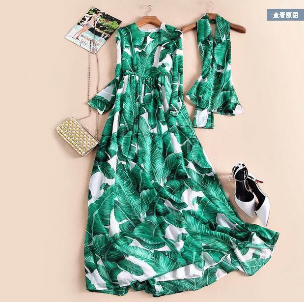 Europe and the United States 2016 Summer new Runway long sleeved banana leaf stamp elegant holiday wind Long dress купить