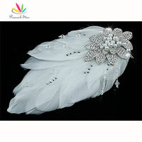 Bridal Wedding Fascinator White Feather Handmade Hair Comb Accessory CT1694