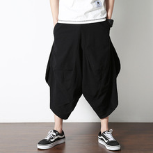 Summer Men Yoga pants Cotton Linen Nepal Harem Hippie Wide Leg Loose Cropped Crotch Pants Bloomers Running Jogger Casual Pants m 5xl men yoga pants nepal linen harem loose wide leg cropped pant bloomers male running jogging casual workout pants sweatpants