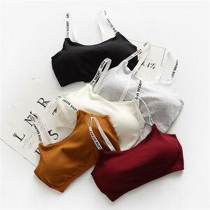 Image 2 - נשים יבול צמרות חולצה Camis מוצק צבעים תחתוני רצועות מרופד חזיית צמרות כותנה אפוד גופייה