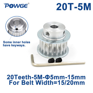 POWGE 20 Teeth HTD 5M Synchronous Pulley Bore 5/6/6.35/8/10/12/14/15mm for Width 15/20mm HTD5M Timing Belts wheel 20Teeth 20T(China)