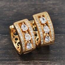 Модные женские серьги-кольца золотого цвета с кубическим цирконием, ювелирные изделия