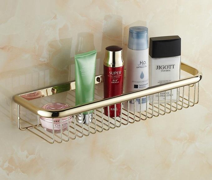 ФОТО Luxury Golden Brass Wall Mounted Bathroom Soap / Sponge Shower Storage Basket Cba096
