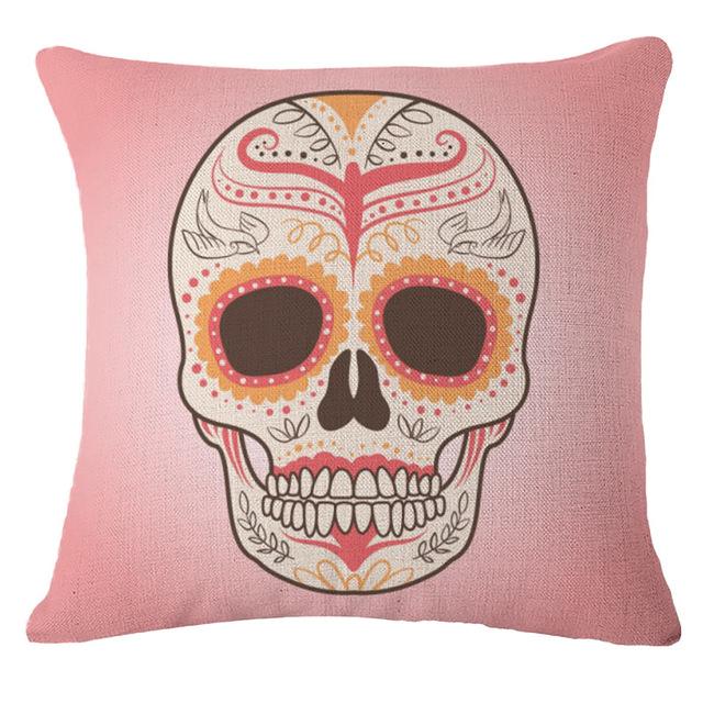 Pillowcase Punk Bohemia Paisley Skull Cushion Cover Cotton
