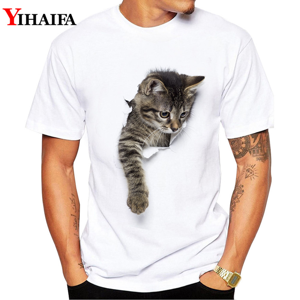 Men T-Shirt Gym Cat Print Stylish Summer Short Sleeve Slim Fit Round Neck White Printed Tee Shirts