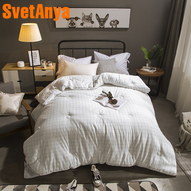 Svetanya White 3d Quilt Cotton thick Throws Blanket Print Plaids warm Bedding Filling Queen Full King sizeSvetanya White 3d Quilt Cotton thick Throws Blanket Print Plaids warm Bedding Filling Queen Full King size