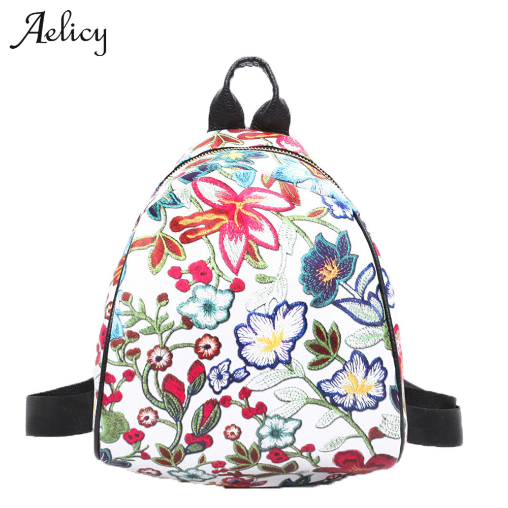 Aelicy Women Vintage Embroidery Ethnic Canvas Backpack 3 Colors Flower Travel Girls School Backbag Rugzak Mochila Feminina 2018