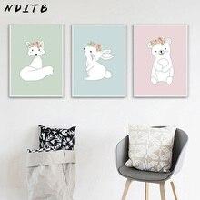 NDITB Cartoon Animal Fox Bear Canvas Poster Nursery Wall Art Print Minimalist Painting Picture for Baby Bedroom Decoration