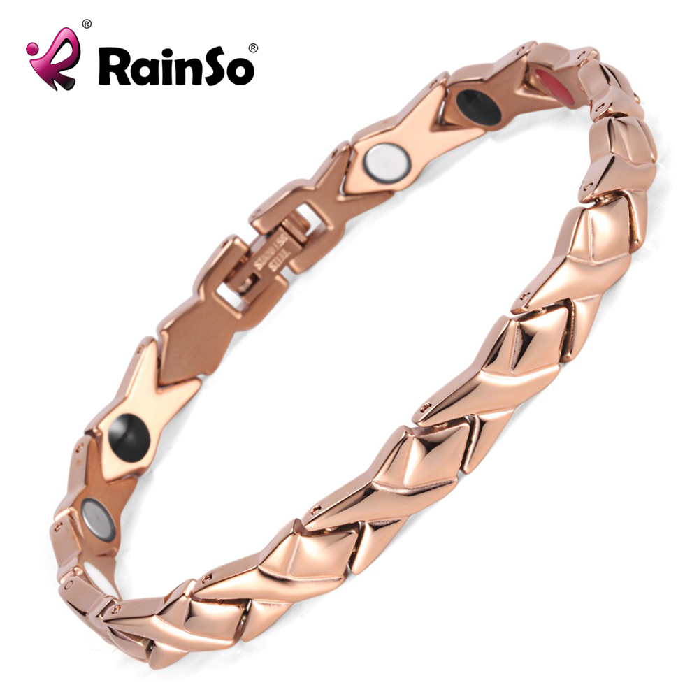 Rainso stainless steel Letter shape power energy health bracelet 4 in 1 magnetic germanium healthy bracelet for women