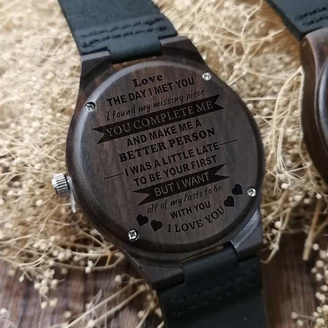 Personalized Wooden Custom Watch for Men Boyfriend Gifts Engraved Confirm Text for Black Sandalwood Watch Can't Change the Text 4