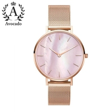 AVOCADO 2018 New Simple Fashion Pink Shell Material Rose Gold Meshband Women WristWatch Miss Quartz Watches