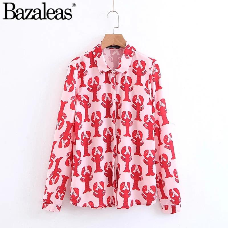 163cy412 Blusa Blusas Impresión Delantero Botones Mujeres Abajo Escote De Rojo Las Populares Langosta Moda Marca OcWXw6nqA