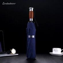 Echte Marke Große Falten Regenschirm Regen 1,2 Meter Business Männer Automatische Regenschirme Winddicht Männlichen Sonnenschirm Dunkelblau Und Schwarz