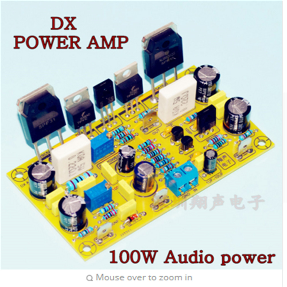 small resolution of dx amp 100w 4r mono audio amplifier board on njw0281 njw0302 tip41 tip42 on 2n5401 differential input stage amp bord