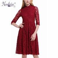 Nemidor Sıcak Satış Kadınlar Zarif 3/4 Kollu Casual Retro Elbise Turn-aşağı Yaka Midi Salıncak Parti Aline Dantel Elbiseler