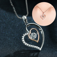 New Crystal Heart Pendant Necklace Female Smart Love Heart Set Dazzle Dance Pendant Short Clavicle Chain Silver Ornaments стоимость
