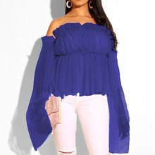 Sweet Pink Off Shoulder Sexy Blouse Women Mesh Pleated Backless Summer Tops Blue Elegant Female Casual Chic Long Sleeve Blouses