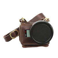 Clip On Protective Leather Camera Case Bag For GoPro Hero 5 With 52mm UV Filter Lens
