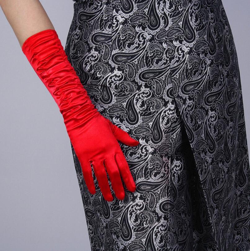 Women's Fashion Folded Imitation Satin Long Glove Female Elegant Party Dress Glove 38cm R1063