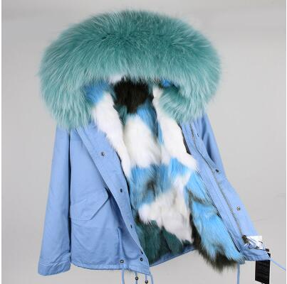 Winter Jacket Women 2017 Army Green Parka Coats Real Large Raccoon Fur Collar Fox Fur Lining Hooded Outwear Free DHL EMS kohuijoos 3xl winter women army green large raccoon fur collar hooded coat warm detachable natural fox fur lining parka coats