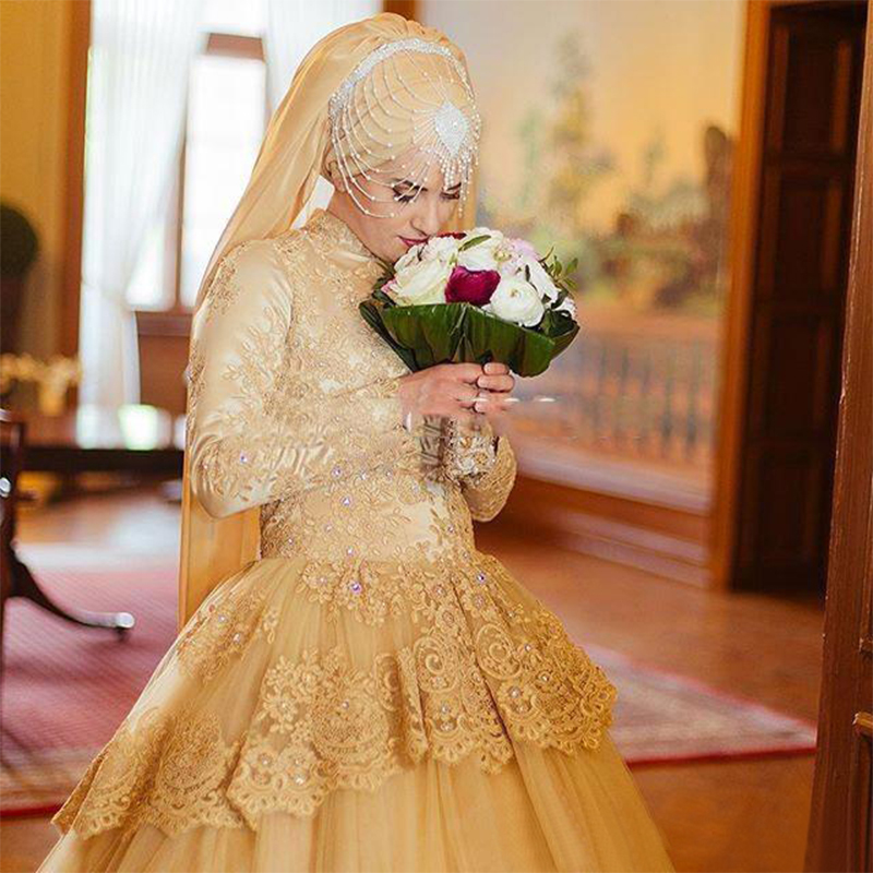 Luxury Gold Lace Beads Mideast Bridal Ball Gowns Long Sleeve Muslim Wedding Dresses 2016 Turkish Traditional