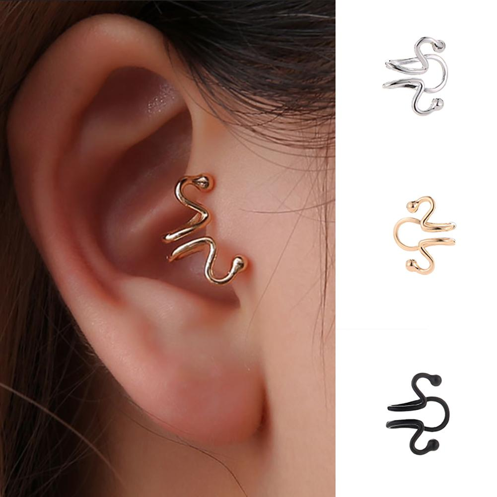 Earrings 2019 Simple Women Geometric Curve Ear Cuff Clip Earrings For Women No Piercing Jewelry Gift New Earings(China)