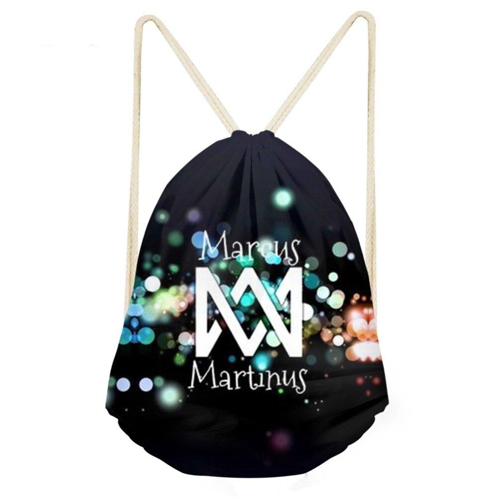 ThiKin Marcus and Martinus Logo Drawstring Bag Mochila Hip Hop Fans Fashion Storage Bag Women Backpack