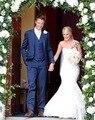 Estilo clássico de dois botões azul noivo smoking padrinhos de casamento dos homens Prom ternos noivo ( Jacket + Pants + Vest + Tie ) K : 953