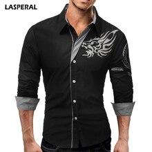 LASPERAL marca hombres Camisas Slim negocios desgaste de manga larga Camisas  Casual más tamaño 4XL Chemise Camisas dragones impr. 768acd49f47